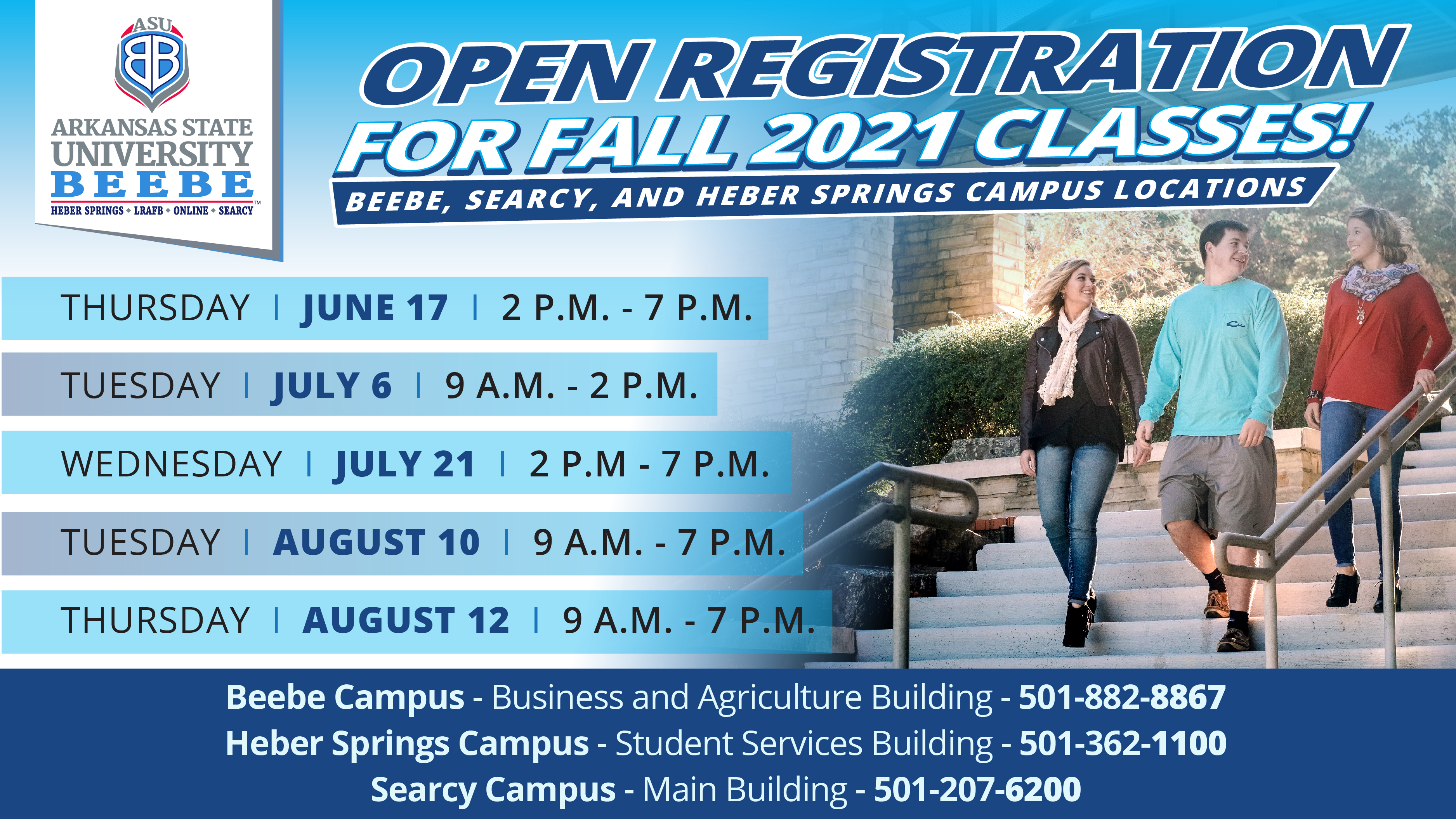 ASU-Beebe Fall 2021 Open Registration Date graphic