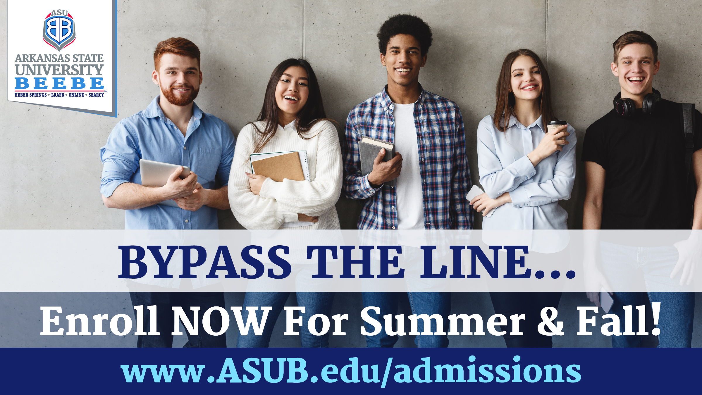 Photo of students lined up along a wall with wording bypass the line and enroll now for summer and fall classes