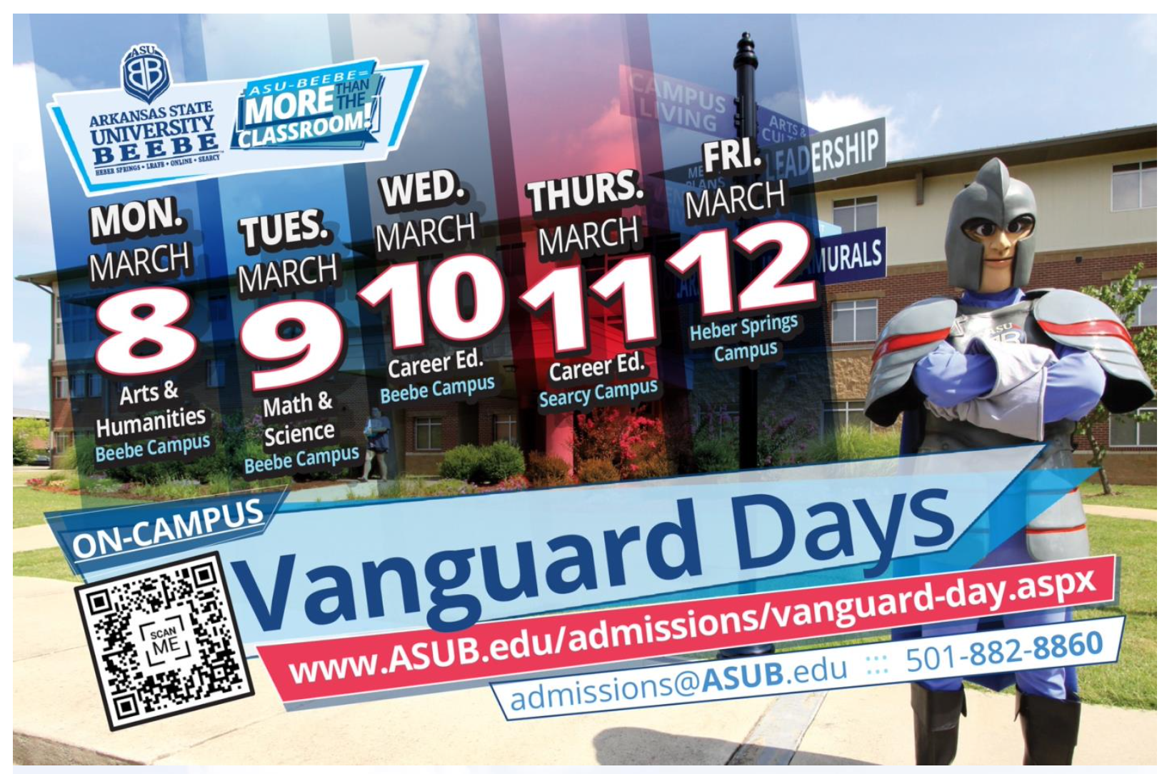 Vanguard Days college preview visit event promotion graphic