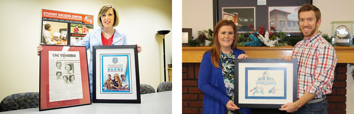 "(Left) ASU-Beebe former marketing director presents new branding and a 1951 issue of the  ""The Vanguard"" newpaper. (right) Former Advancment officer Carol Johnson presents with designer Chad Miller the new Vanguard mascot design."