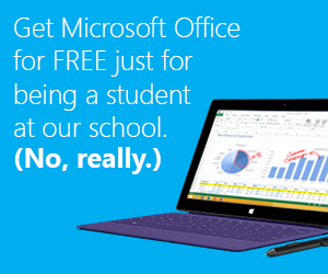 Get Microsoft Office for FREE just for being a student at our school. (No, really.)