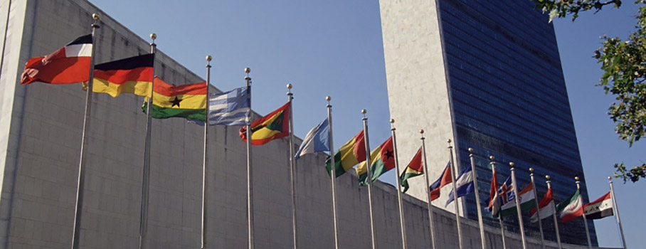 photo of flag display in front of United Nations Bldg in New York